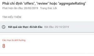 Lỗi Phải chỉ định offers review hoặc aggregateRating