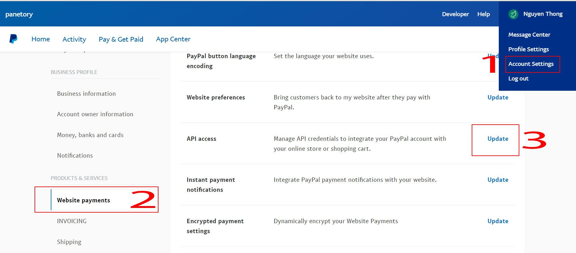 Cách Lấy API Credential PAYPAL